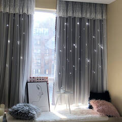 A combination of the popular star hole drape fabric and frilled lace Layered Curtains