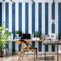 West Coast style blue border line wallpaper sticker