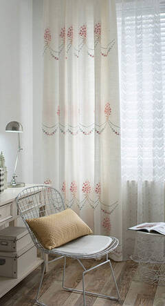 Elegant floral embroidery curtains