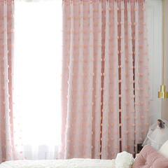 Princess style layered curtain with fluffy dots