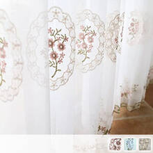 Adult girly flower embroidery Sheer Curtains