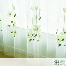 Cute white flower embroidery Sheer Curtains