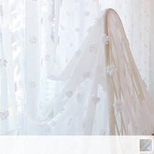 Sheer Curtains embroidered with fluffy three-dimensional flowers