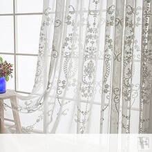 Luxurious Damask-style embroidery Sheer Curtains