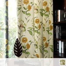 Curtain Set with antique sunflower pattern