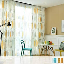 Bright and Scandinavian Curtain Set with leaf pattern