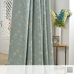 Floral jacquard curtain on wrinkled fabric