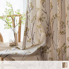 Floral curtains with a natural texture