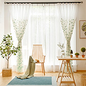 Lace curtains, elegant leaf embroidery