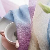 Lace curtain, quaint indigo dyeing texture